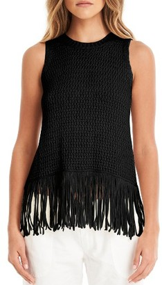 Women's Michael Stars Split Back Fringe Tank $128 thestylecure.com