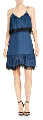 Halston Sleeveless Lace-Trim Dress