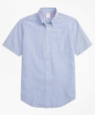 Brooks Brothers Regent Fit Stripe Seersucker Short-Sleeve Sport Shirt