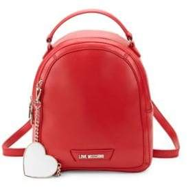Love Moschino Logo Faux Leather Backpack