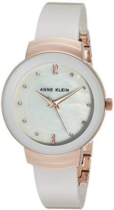 Anne Klein Women's AK/3106WTRG Swarovski Crystal Accented Gold-Tone and White Resin Bangle Watch