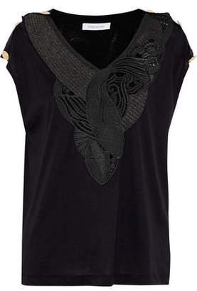 Pierre Balmain Crochet-Paneled Button-Detailed Cotton-Jersey Top