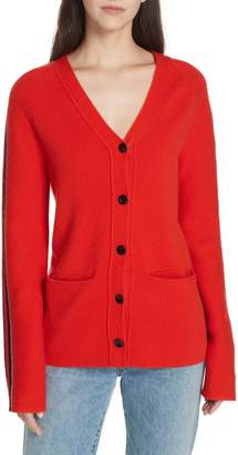 Proenza Schouler PSWL Stripe Sleeve Merino Wool & Cashmere Cardigan