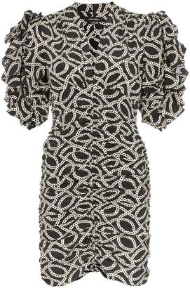 Isabel Marant Andor chain-print ruched stretch-silk dress