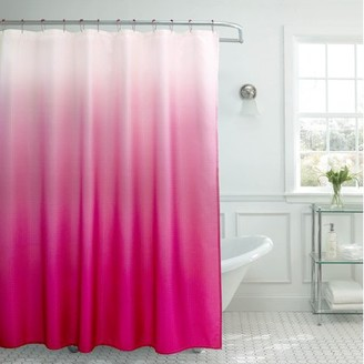 Bounce Comfort Creative Home Ideas Ombre Textured Shower Curtain with Beaded Rings, Fuchsia