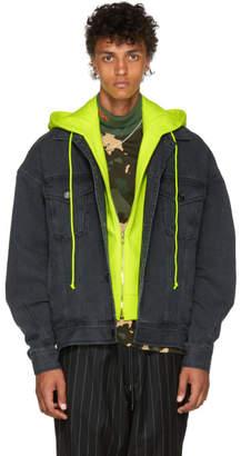Juun.J Black and Yellow Conceal. Reveal Hoodie Denim Jacket