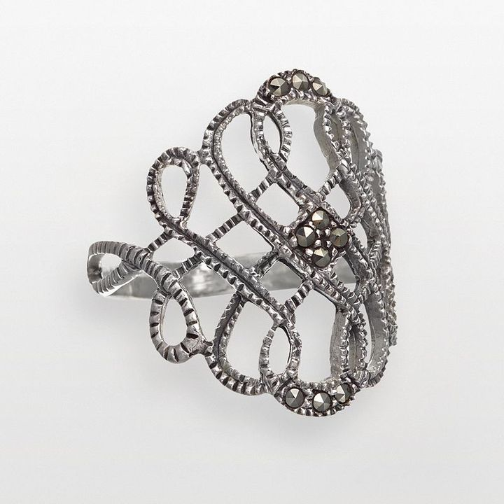 Sterling silver wide marcasite scroll ring