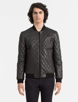 Calvin Klein quilted leather bomber jacket