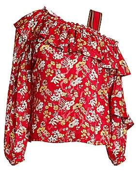 Derek Lam 10 Crosby Women's Asymmetric Floral Silk-Blend Blouse