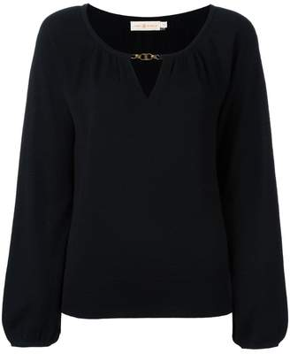 Tory Burch cashmere keyhole detail blouse