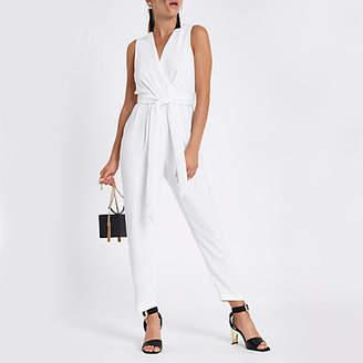 River Island White wrap front tie waist jumpsuit
