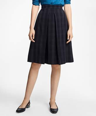 Brooks Brothers Petite Plaid Corded A-Line Skirt
