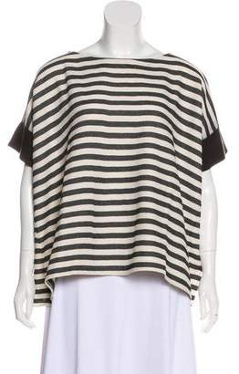 Hache Leather Trimmed Stripe Top