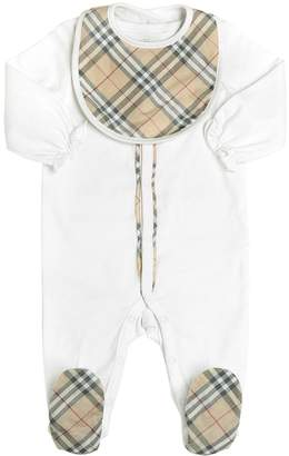Burberry Cotton Interlock Romper & Bib Set