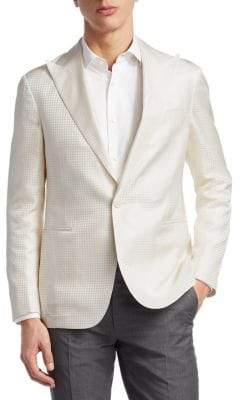 Ralph Lauren Purple Label Tonal Houndstooth Silk Jacket