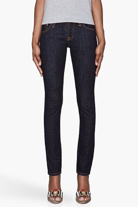 Nudie Jeans Navy Tight Long John Organic cotton Twill jeans