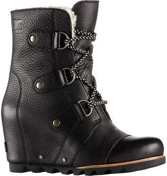 Sorel Womens Joan Of Arctic Wedge Mid Shearling Black Ancient Fossil Leather Boots 8 US
