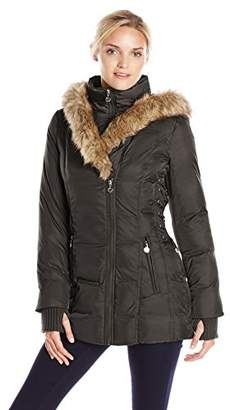 Betsey Johnson Women's Mid-Length Puffer Coat with Faux-Fur Hood $55.04 thestylecure.com