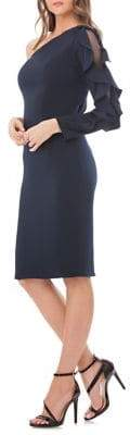 Carmen Marc Valvo Ruffled Sleeve One-Shoulder Dress