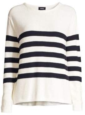 Monrow Women's Cashmere-Blend Striped Knit Sweater - Ivory - Size XS