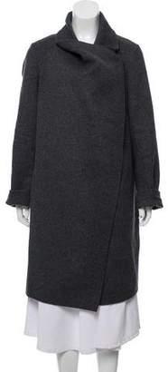 Vince Leather-Trimmed Wool Blend Coat