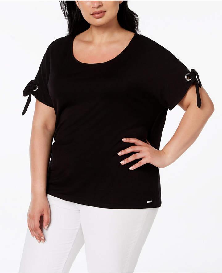 Plus Size Grommet-Tie Sleeve T-Shirt