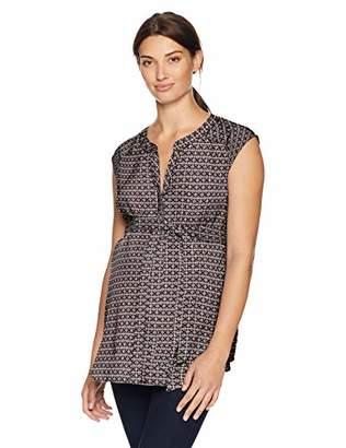Motherhood Maternity Women's Maternity Drop Shoulder Button Down Tunic Shirt with Self Tie