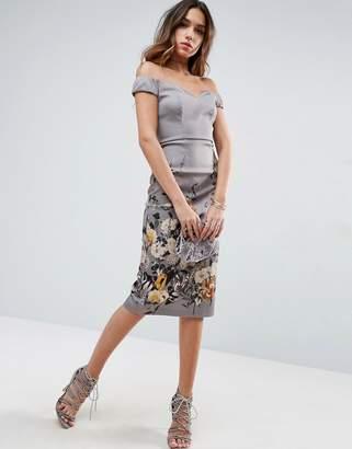 ASOS Border Floral Bardot Midi Pencil Dress $83 thestylecure.com