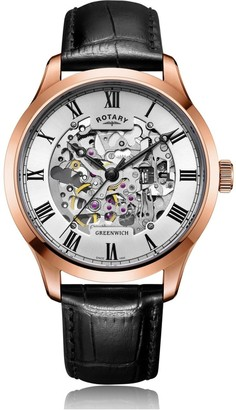 847922fd0fc2 Rotary Watches Mens Rose Gold Plated Skeleton Watch