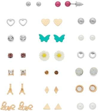 """Gold Tone & Silver Tone Butterfly, Flower & """"Love"""" Nickel Free Stud Earring Set"""