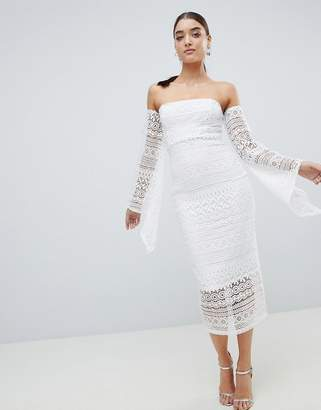 Club L Bandeau Crochet Arm Detailed Midaxi Dress