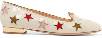 Charlotte Olympia Kitty Cutout Embroidered Leather Slippers - White