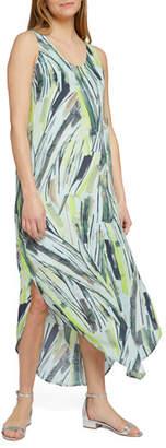 Nic+Zoe Palm Printed Scoop-Neck Sleeveless Maxi Dress