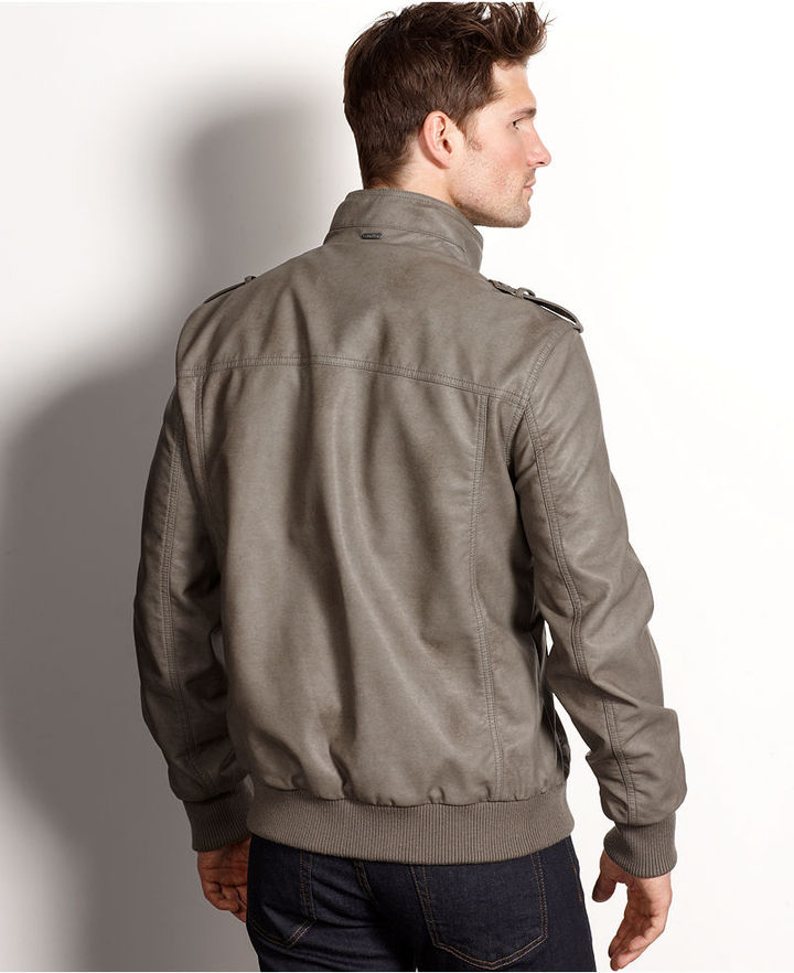 Calvin Klein Coat, Lightweight Faux Leather Bomber Jacket