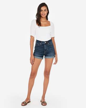 Express High Waisted Dark Wash Double Roll Stretch+ Denim Shorts