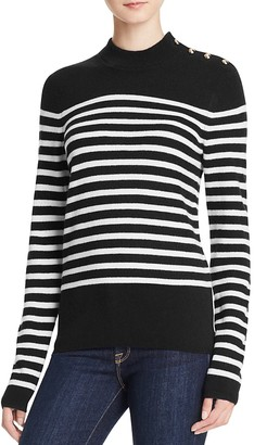 AQUA Cashmere Stripe Mock Neck Cashmere Sweater $188 thestylecure.com