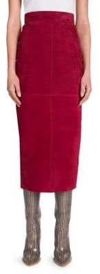 Fendi Suede Midi Pencil Skirt