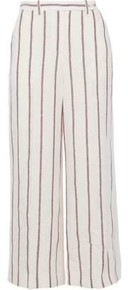 Theory Nadeema Cropped Striped Linen Wide-Leg Pants