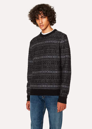 Paul Smith Men's Black Fair Isle Wool-Blend Sweater
