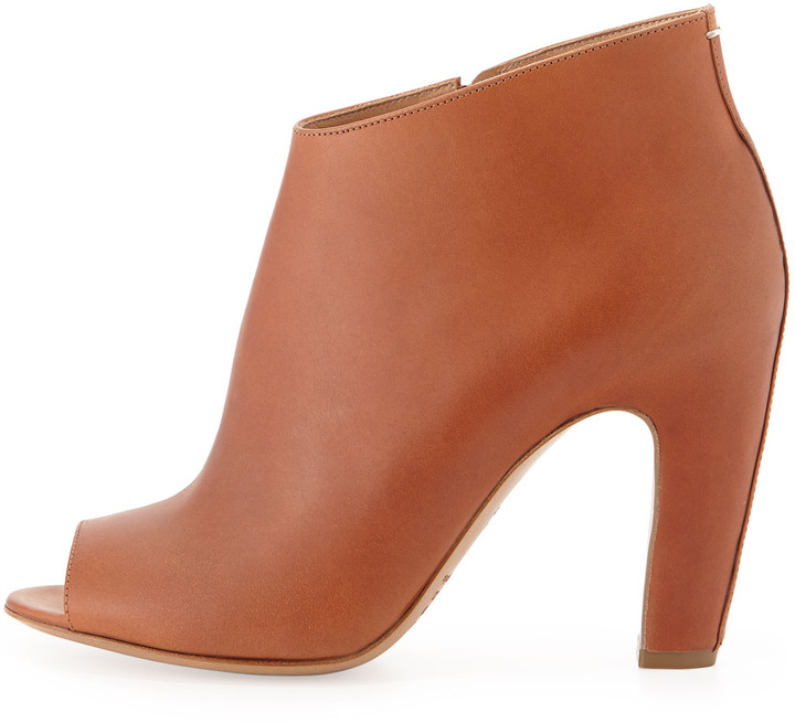 Maison Martin Margiela Leather Peep-Toe Ankle Boot, Brown