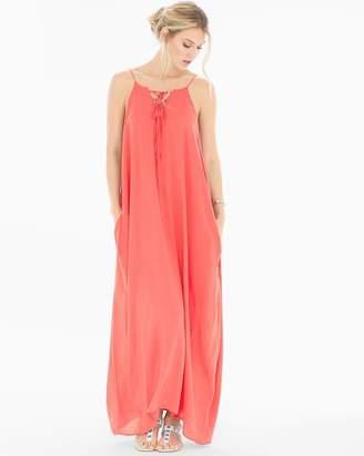 Elan Lace Up Neck Cover Up Maxi Dress Melon