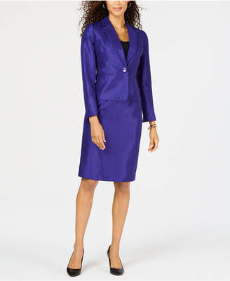 Le Suit Shiny One-Button Skirt Suit
