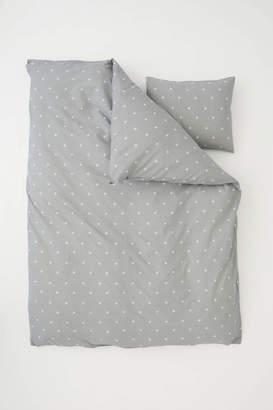 H&M Star-print Duvet Cover Set - Gray/stars