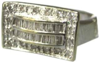14K White Gold Baguettes Diamonds Ladies Ring