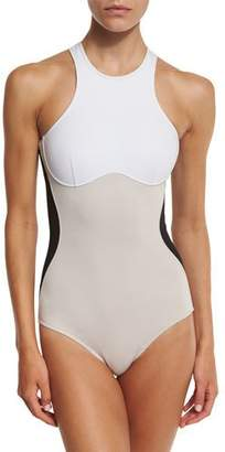 Stella McCartney Stella Iconic Colorblock One-Piece Swimsuit, Black/Stone/White