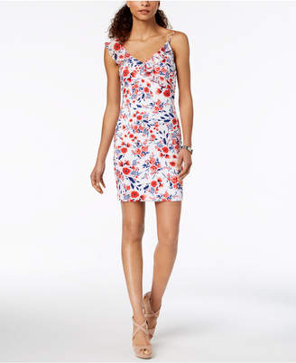 GUESS Asymmetrical Floral Bodycon Dress