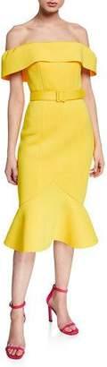 Badgley Mischka Off-the-Shoulder Short-Sleeve Belted Flounce Hem Scuba Dress