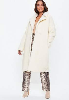 Missguided White Oversized Chunky Borg Teddy Coat