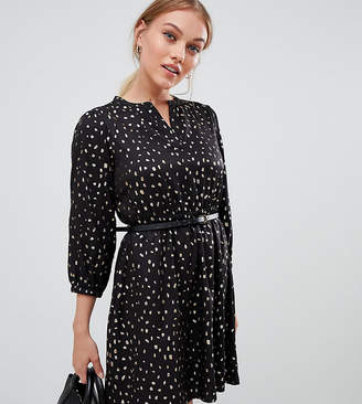 Yumi Petite belted dress with 3/4 sleeves in foil spoldge print