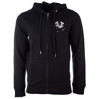 True Religion Men's Zip Hoodie with Metallic Shattered Horseshoe Logo